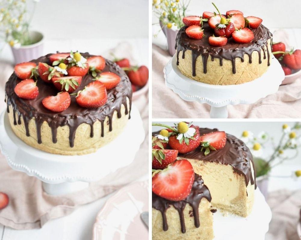 Kaesekuchen mit Erdbeeren  Collage