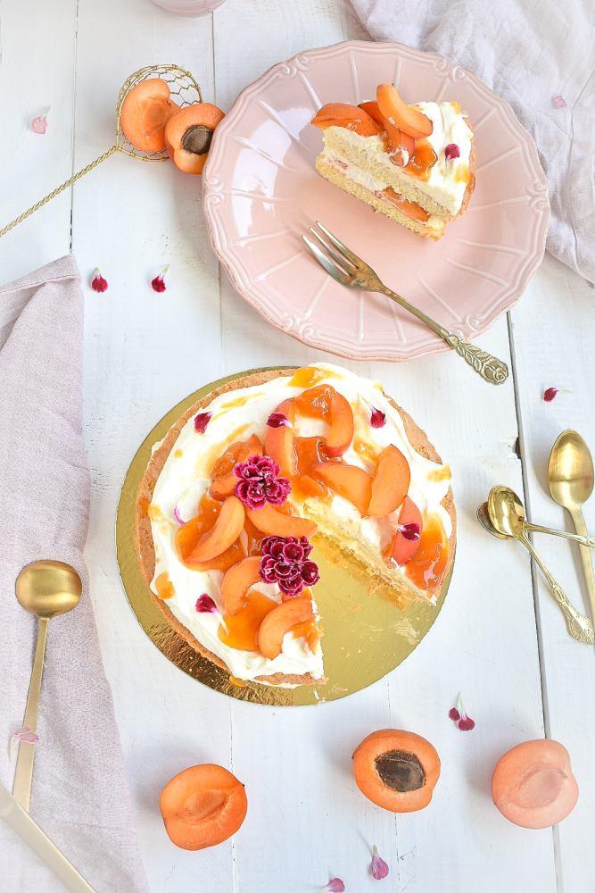 Aprikosen Torte Anschnitt