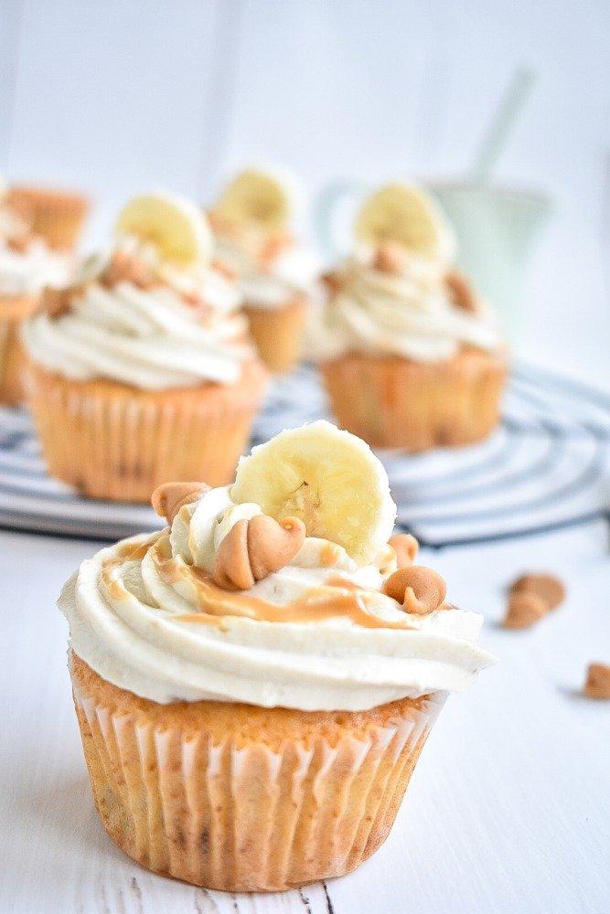 Bananen Cupcakes mit Peanutbutter Chips
