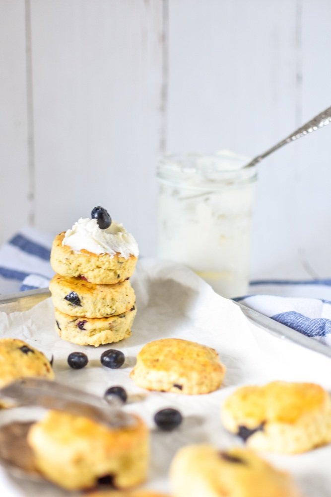 Blaubeer Scones mit clotted Cream